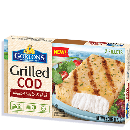Roasted garlic herb grilled cod gorton s seafood for How to remove sodium tripolyphosphate from fish