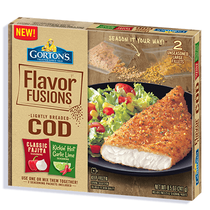 Flavor Fusions Cod Fillets: Classic Fajita and Kickin' Hot Garlic Lime